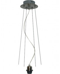 686 - Pendel 1 Luz Con Cuatro Cables De Acero En Un Repartidor Redondo