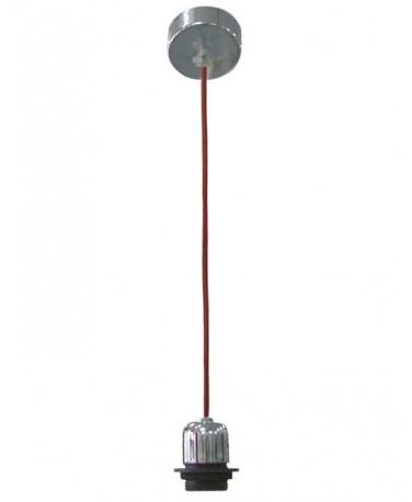 Colgante 1 Luz Con Florón Redondo Cable Textil