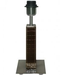 110 - Sobremesa De 28 Cm Rectangular Forrado En Piel Y Base Metalica De 12 Cm