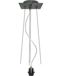 Pendel 1 Luz Con Tres Cables De Acero En Un Repartidor Cuadrado