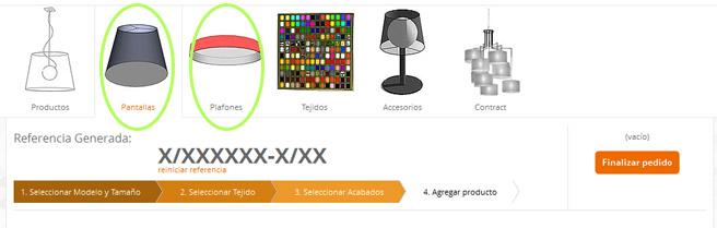 Seleccione la opción Pantallas/Plafones en el listado de categorías